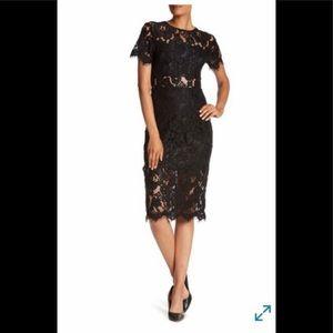 NEW Black NSR Short Sleeve Sheath Midi Dress